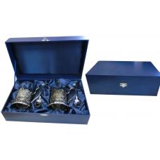 Футляр бумвиниловый под два подстаканника (синий)