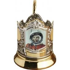 Подстаканник позолоченный сублимация (Гагарин 2) [С-10ч]