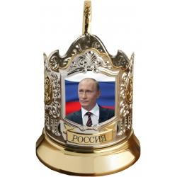 Подстаканник позолоченный сублимация Путин [С-04п]