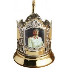 Подстаканник позолоченный сублимация (Сталин) [С-08ч]