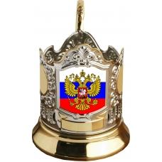 Подстаканник позолоченный сублимация (флаг / герб)[С-03ч]