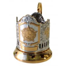 Подстаканник позолота Звезда (Орден Победы) с гербами РФ